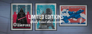 Limited edition silkscreen art by Brian Miller features officially licensed silkscreen editions from Star Wars, GI Joe, The X-Files, The Simpsons, Wes Anderson, Archer, and many more including Fox and Lucasfilm