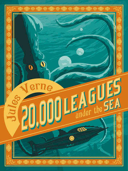 20,000 Leagues Under the Sea — vintage style art print - Oktopolis - Print