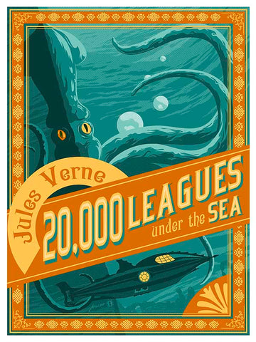 20,000 Leagues under the sea illustration of Jules Verne classic by Brian Miller for Oktopolis