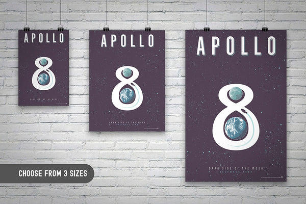 NASA Apollo 8 mission United States Space Exploration Poster wall art by Oktopolis - the art of Brian Miller