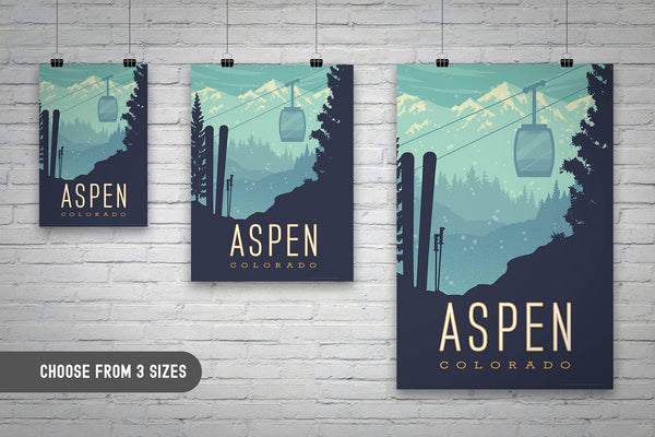 Choose from 3 sizes: SKI ASPEN — This Museum-quality art print of Aspen, Colorado is illustrated by artist: Brian Miller (Star Wars, The X-Files, Doctor Who) and available exclusively from Oktopolis.