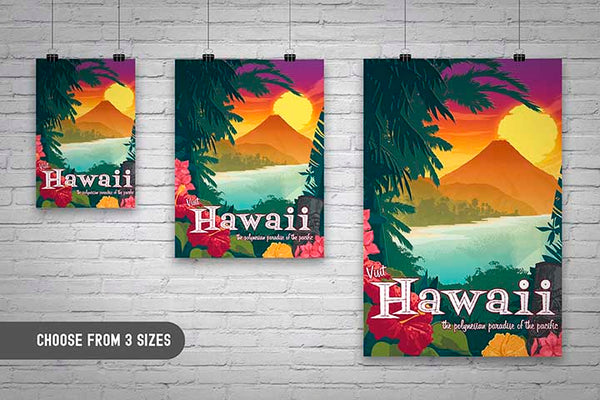 Choose from 3 sizes for your home. This Museum-quality art print of a vintage travel poster style artwork of Hawaii is illustrated by artist: Brian Miller (Star Wars, The X-Files, Doctor Who) and available exclusively from Oktopolis.