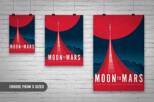 Three Sizes available. This Moon to Mars artwork is one in a series of collectable SPACE EXPLORATION posters by illustrator Brian Miller available exclusively from Oktopolis. This Museum-quality art print is illustrated by artist: Brian Miller (Star Wars, The X-Files, Doctor Who) and produced on heavy matte, acid-free, archival paper.