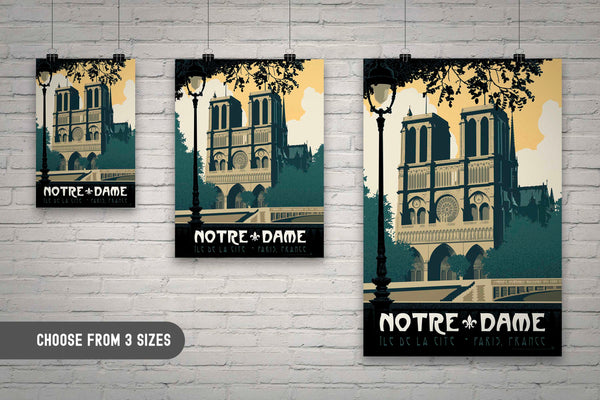 Available in 3 sizes — Vintage travel poster style illustration showcases the stunning beauty of the Notre-Dame de Paris cathedral in Paris, France as illustrated by artist Brian Miller and available only from Oktopolis.com