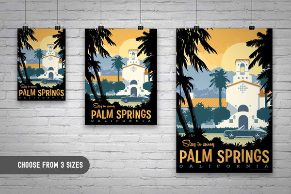 AVAILABLE IN 3 SIZES! This Museum-quality art print of Palm Springs is illustrated by artist: Brian Miller (Star Wars, The X-Files, Doctor Who) and produced on heavy matte, acid-free, archival paper.