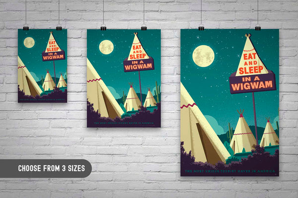 Available in 3 sizes. One of the surviving places of Route 66 history, the Wigwam Village or Wigwam Motel reminds us of a time gone by when you could get your kicks on Route 66. This Museum-quality art print of a Wigwam Village is illustrated by artist: Brian Miller (Star Wars, The X-Files, Doctor Who) & produced on heavy matte, acid-free, archival paper. You too can Eat and Sleep in a Wigwam