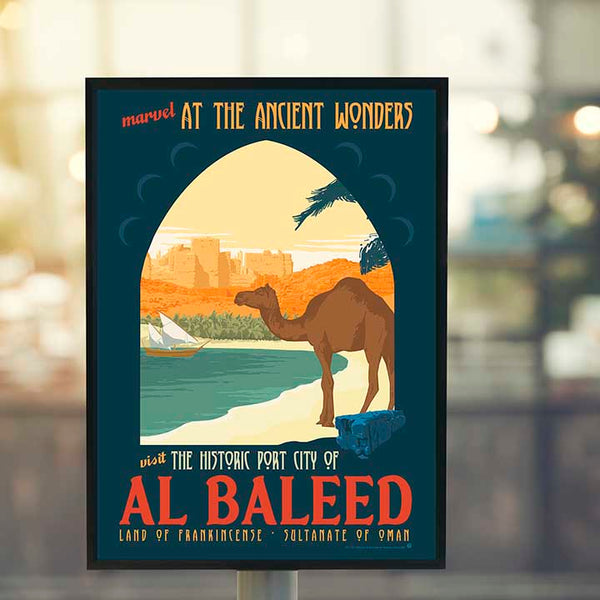 vintage travel poster of the ruins of the ancient port city of Al Baleed by brian miller featuring camels from the sultanate of oman the land of frankincense