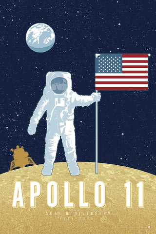 Apollo 11 50th Anniversary artwork is one in a series of collectable SPACE EXPLORATION posters by illustrator Brian Miller available exclusively from Oktopolis.