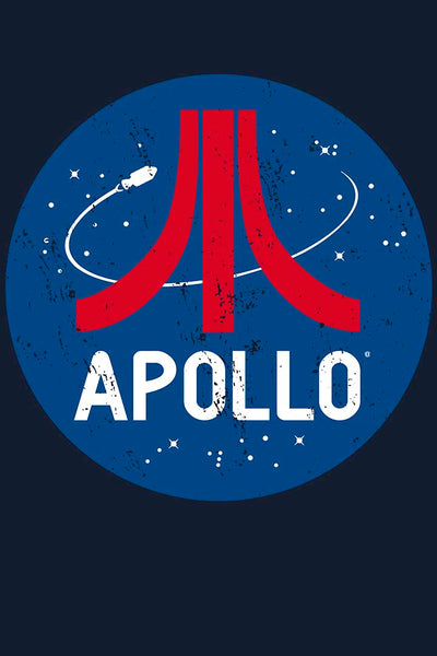 Retro style Apollo t-shirt design by artist Brian Miller, available exclusively from Oktopolis.