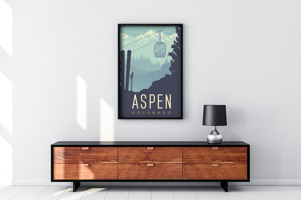 Example only, frame not included; SKI ASPEN — This Museum-quality art print of Aspen, Colorado is illustrated by artist: Brian Miller (Star Wars, The X-Files, Doctor Who) and available exclusively from Oktopolis.