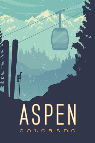 SKI ASPEN — This Museum-quality art print of Aspen, Colorado is illustrated by artist: Brian Miller (Star Wars, The X-Files, Doctor Who) and available exclusively from Oktopolis.