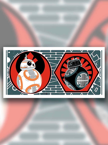 """BB-8 & BB-9E"" is one in a series of collectable STAR WARS illustrations by artist Brian Miller. You can be among the first to add this officially licensed Star Wars artwork to your collection."