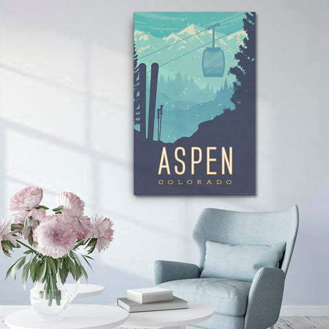 Perfect for your home: Inspired by the beautiful snow covered mountains of Aspen, Colorado and showcases the ideal location for winter sports like skiing and snowboarding. This Museum-quality fine-art canvas of Aspen, Colorado is illustrated by artist: Brian Miller (Star Wars, The X-Files, Doctor Who) & available exclusively from Oktopolis.