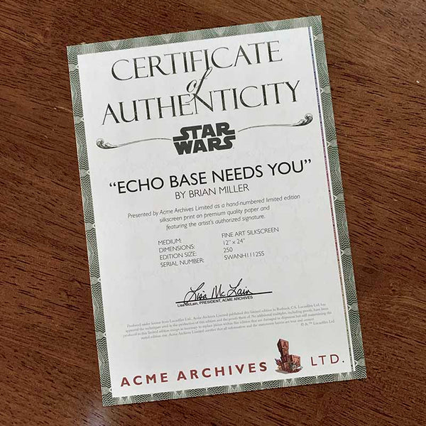 "Certificate of Authenticity for Relieve the excitement of The Empire Strikes Back every time you gaze upon this limited edition artwork in your home. ""Echo Base Needs You"" is one in a series of collectable STAR WARS illustrations by artist Brian Miller. You can be among the first to add this officially licensed Star Wars artwork to your collection."