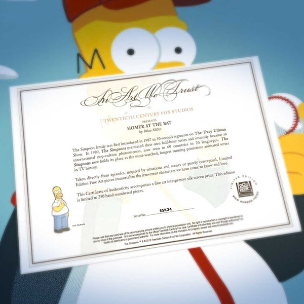 CoA (certificate of authenticity) for The Simpsons, Homer at the Bat officially licensed artwork by Brian Miller