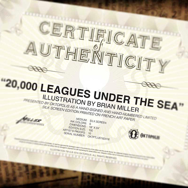 Certificate of authenticity from 20,000 Leagues under the sea illustration of Jules Verne classic by Brian Miller for Oktopolis