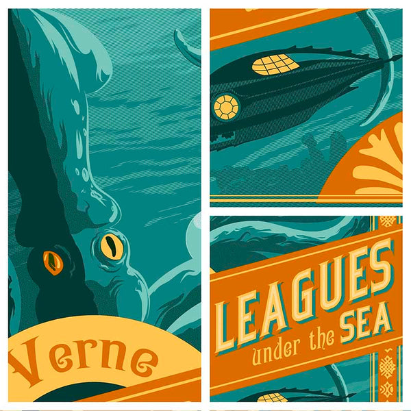 Details from 20,000 Leagues under the sea illustration of Jules Verne classic by Brian Miller for Oktopolis