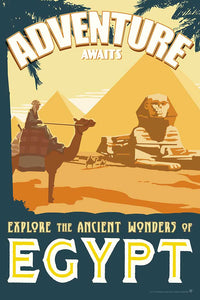 Vintage travel poster style illustration of the Sphinx and ancient pyramids of Egypt in a museum-quality art print illustrated by artist: Brian Miller (Star Wars, The X-Files, Doctor Who)