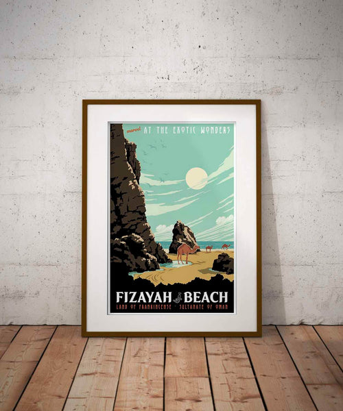 vintage travel poster of fizayah beach by brian miller featuring camels from the sultanate of oman the land of frankincense