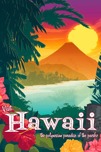 This Museum-quality art print of a vintage travel poster style artwork of Hawaii is illustrated by artist: Brian Miller (Star Wars, The X-Files, Doctor Who) and available exclusively from Oktopolis.