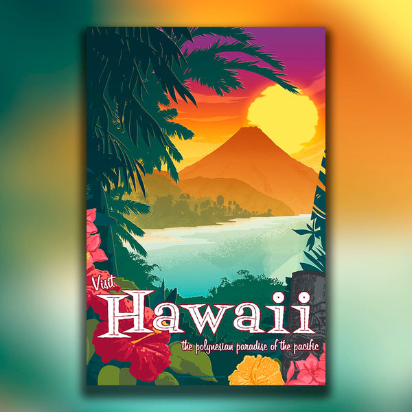 Hawaii — Vintage Travel Style Art Print - Oktopolis - Print