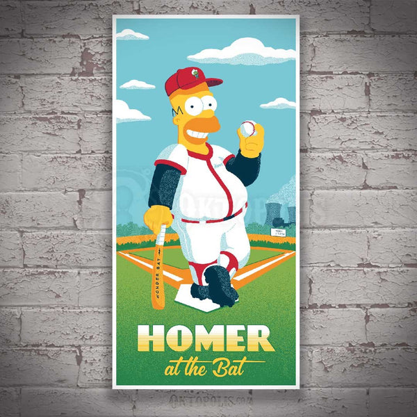 Announcing The Simpsons, Homer at the Bat officially licensed artwork by Brian Miller