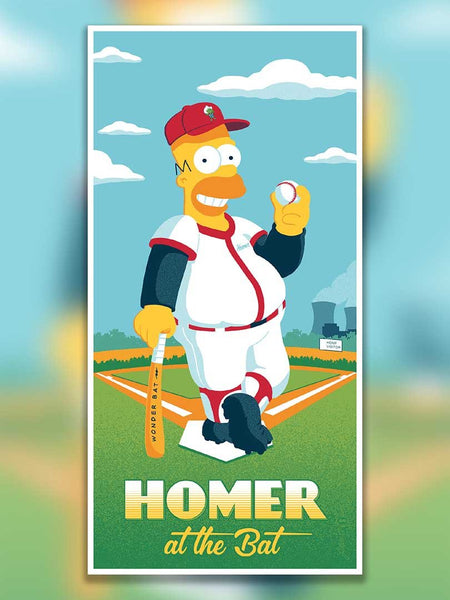 The Simpsons, Homer at the Bat officially licensed artwork by Brian Miller