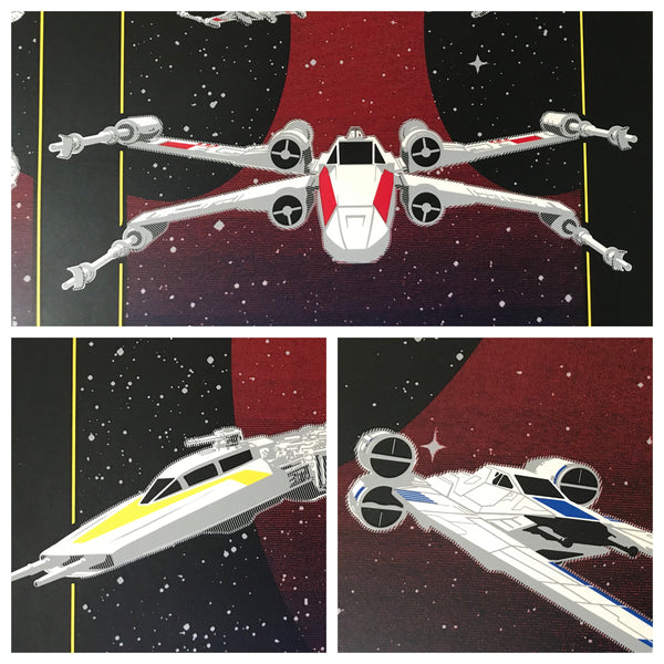 details from Rebel squadrons artwork by brian miller featuring u-wing x-wing and y-wing fighters from star wars k-2so droid he's on our side artwork by brian miller Officially Licensed Star Wars artwork inspired by Star Wars and Rogue One
