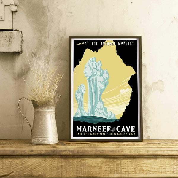 Marneef Cave & Blow Holes exotic travel poster national park style