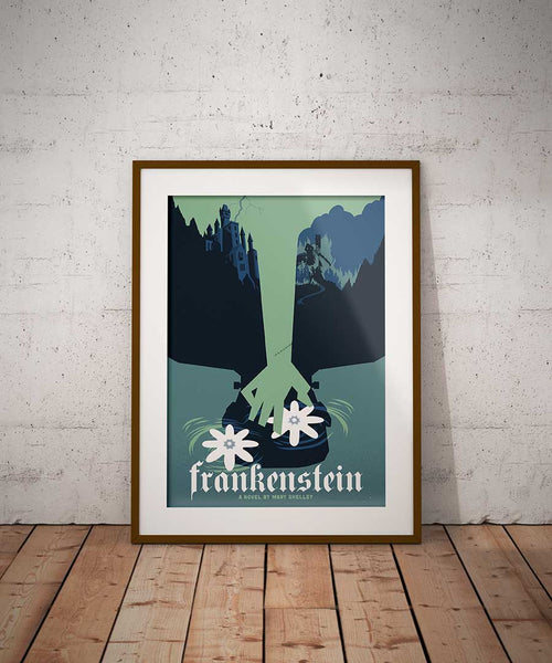 This commemorative poster style illustration for Mary Shelley's Frankenstein retells the famous story in one illustration. his museum-quality art print of Mary Shelley's Frankenstein is illustrated by artist: Brian Miller (Star Wars, The X-Files, Doctor Who) and produced on heavy matte, acid-free, archival paper.