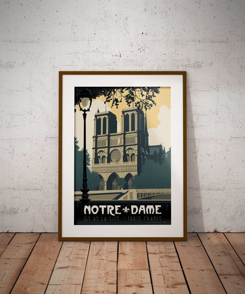 Looks great framed — Vintage travel poster style illustration showcases the stunning beauty of the Notre-Dame de Paris cathedral in Paris, France as illustrated by artist Brian Miller and available only from Oktopolis.com