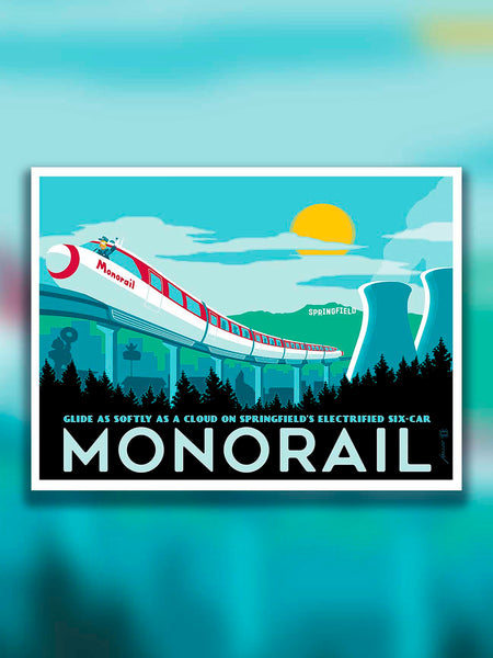 Relieve The Simpsons episode Marge vs. the Monorail every time you glance at this artwork in your home. This collectable Monorail artwork by illustrator Brian Miller is perfect for your home or office. Add this officially licensed artwork from The Simpsons to your collection.