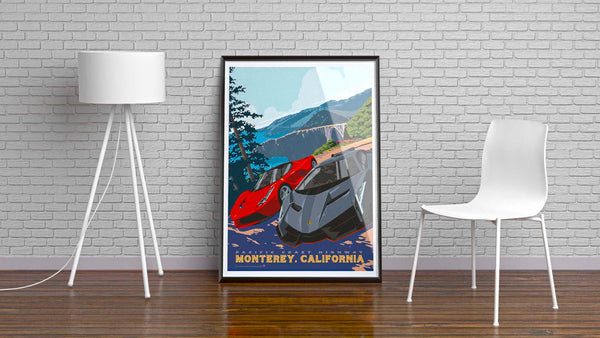 This Museum-quality art print is illustrated by artist: Brian Miller (Star Wars, The X-Files, Doctor Who) and produced on heavy matte, acid-free, archival paper. Order today and imagine yourself driving the Pacific Coast Highway every time you look at this vintage style travel poster.