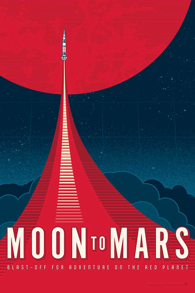 This Moon to Mars artwork is one in a series of collectable SPACE EXPLORATION posters by illustrator Brian Miller available exclusively from Oktopolis. This Museum-quality art print is illustrated by artist: Brian Miller (Star Wars, The X-Files, Doctor Who) and produced on heavy matte, acid-free, archival paper.