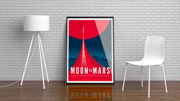 Framed version of This Moon to Mars artwork is one in a series of collectable SPACE EXPLORATION posters by illustrator Brian Miller available exclusively from Oktopolis. This Museum-quality art print is illustrated by artist: Brian Miller (Star Wars, The X-Files, Doctor Who) and produced on heavy matte, acid-free, archival paper.