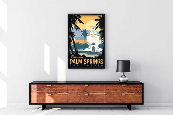Looks stunning in your home: This Museum-quality art print of Palm Springs is illustrated by artist: Brian Miller (Star Wars, The X-Files, Doctor Who) and produced on heavy matte, acid-free, archival paper.