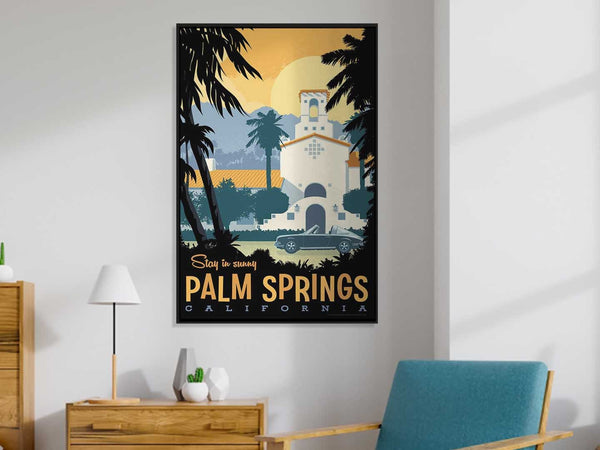 This Museum-quality art print of Palm Springs is illustrated by artist: Brian Miller (Star Wars, The X-Files, Doctor Who) and produced on heavy matte, acid-free, archival paper.