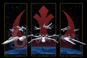 Rebel squadrons artwork by brian miller featuring u-wing x-wing and y-wing fighters from star wars k-2so droid he's on our side artwork by brian miller Officially Licensed Star Wars artwork inspired by Star Wars and Rogue One