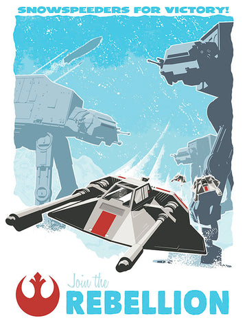 Snowspeeders for victory artwork by brian miller inspired by empire strakes back featuring at-at on hoth in this officially licensed by lucasfilm silkscreen art
