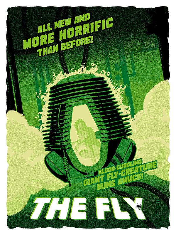 The Fly (1986) interpretive artwork. All new and more horrific than before! Blood-curdling giant fly-creature runs amuck art by brian miller officially licensed by fox for the hour film the fly