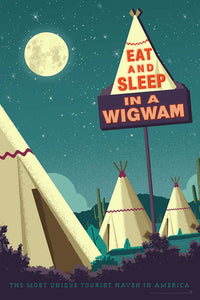 One of the surviving places of Route 66 history, the Wigwam Village or Wigwam Motel reminds us of a time gone by when you could get your kicks on Route 66. This Museum-quality art print of a Wigwam Village is illustrated by artist: Brian Miller (Star Wars, The X-Files, Doctor Who) & produced on heavy matte, acid-free, archival paper. You too can Eat and Sleep in a Wigwam