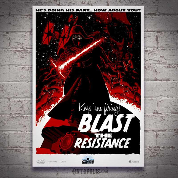 Blast the resistance star wars art by brian miller for star wars celebration featuring kylo ren and first order tie fighters from the force awakens