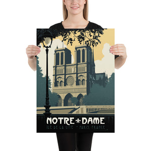 Vintage travel poster style illustration showcases the stunning beauty of the Notre-Dame de Paris cathedral in Paris, France as illustrated by artist Brian Miller and available only from Oktopolis.com