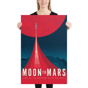 Large size. This Moon to Mars artwork is one in a series of collectable SPACE EXPLORATION posters by illustrator Brian Miller available exclusively from Oktopolis. This Museum-quality art print is illustrated by artist: Brian Miller (Star Wars, The X-Files, Doctor Who) and produced on heavy matte, acid-free, archival paper.