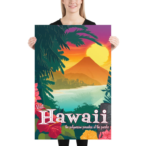 large size - This Museum-quality art print of a vintage travel poster style artwork of Hawaii is illustrated by artist: Brian Miller (Star Wars, The X-Files, Doctor Who) and available exclusively from Oktopolis.