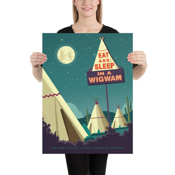 Medium Size. One of the surviving places of Route 66 history, the Wigwam Village or Wigwam Motel reminds us of a time gone by when you could get your kicks on Route 66. This Museum-quality art print of a Wigwam Village is illustrated by artist: Brian Miller (Star Wars, The X-Files, Doctor Who) & produced on heavy matte, acid-free, archival paper. You too can Eat and Sleep in a Wigwam