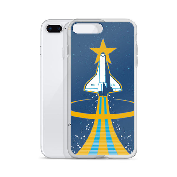 iPhone shown with Space Shuttle case for iPhone from Oktopolis