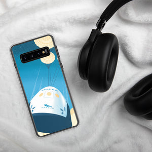 This sleek Samsung Galaxy case protects your phone from scratches, dust, oil, and dirt. It has a solid back and flexible sides that make it easy to take on and off, with precisely aligned openings. SpaceX Crew Dragon illustration by artist Brian Miller (Star Wars, The X-Files, Doctor Who) available exclusively from Oktopolis.