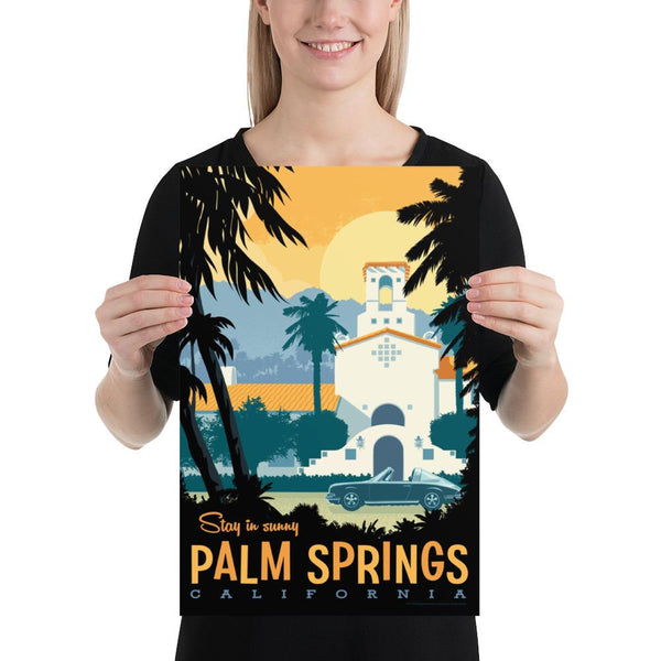 Medium Size: This Museum-quality art print of Palm Springs is illustrated by artist: Brian Miller (Star Wars, The X-Files, Doctor Who) and produced on heavy matte, acid-free, archival paper.