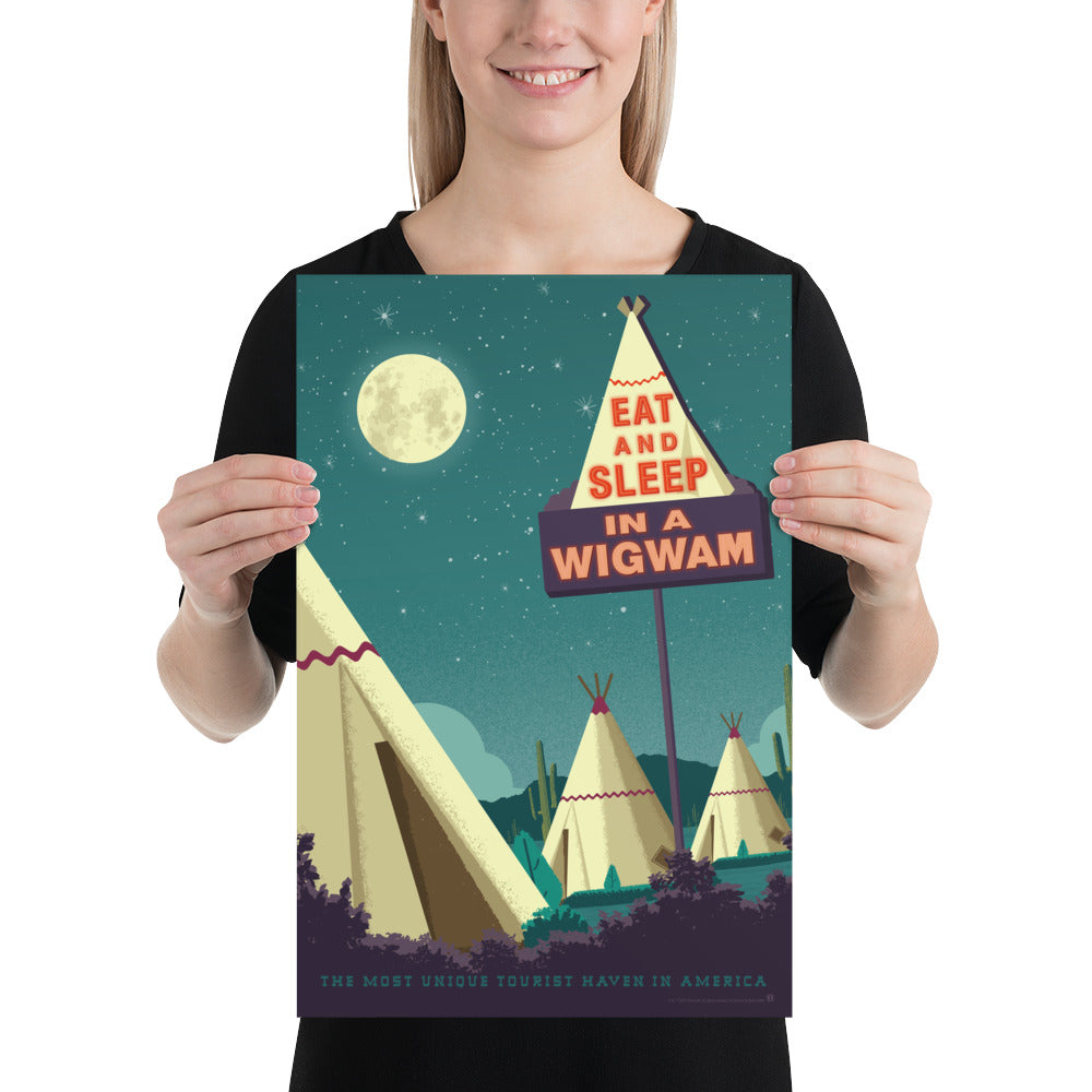 Small size. One of the surviving places of Route 66 history, the Wigwam Village or Wigwam Motel reminds us of a time gone by when you could get your kicks on Route 66. This Museum-quality art print of a Wigwam Village is illustrated by artist: Brian Miller (Star Wars, The X-Files, Doctor Who) & produced on heavy matte, acid-free, archival paper. You too can Eat and Sleep in a Wigwam